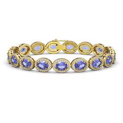 21.35 CTW Tanzanite & Diamond Halo Bracelet 10K Yellow Gold - REF-353Y6K - 40612