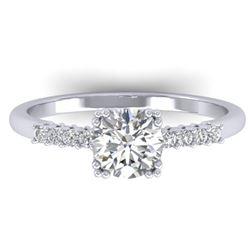 0.93 CTW Certified VS/SI Diamond Solitaire Art Deco Ring 14K White Gold - REF-171X3T - 30456