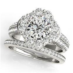 2.38 CTW Certified VS/SI Diamond 2Pc Wedding Set Solitaire Halo 14K White Gold - REF-448A4X - 31106