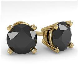 4.0 CTW Black Diamond Stud Designer Earrings 14K Yellow Gold - REF-104H2A - 38390