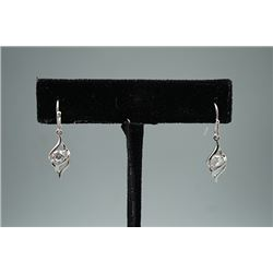 A Pair of Zircon Earrings Inlaid with 925 Silver.