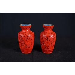 A pair of Two Middle 20th Century Export Small Cinnabar Lacquer Vase.