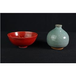 A Celedon-Glazed Small Jar and a Red-Glazed Small Bowl.
