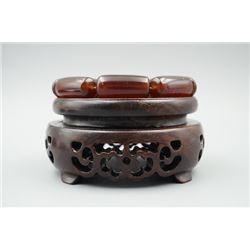 Blood Cherry Amber Barrel Beads Bracelet.