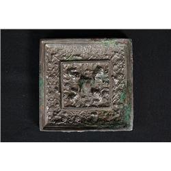 "A Bronze ""Grape and Toad"" Square Mirror."