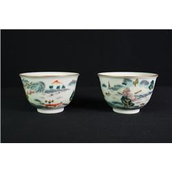 "A Pair of Two Gilt-Decorated ""Landscape"" Cups."