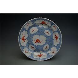 """A """"Guan"""" Kiln Yangcai Plate with Bat and Cloud Pattern."""