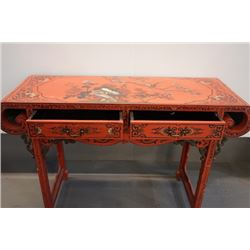 "An export lacquer ""flowers and birds"" table."