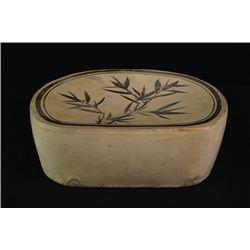 """A Jin Dynasty """"Cizhou"""" Kiln """"Bamboo"""" Porcelain Pillow."""