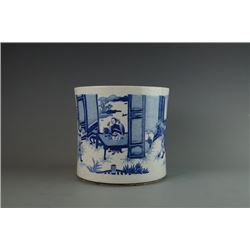 """Feng Chen San Xia"" Blue-and-White Brushpot."