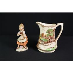 "Taiwan ""G"" Mark Ceramic Figurine and England Alfred Meakin Milk Jar"