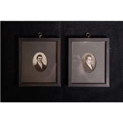 Late 19th century, two old photos with frame.
