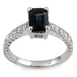 2.65 CTW Blue Sapphire & Diamond Ring 18K White Gold - REF-67F3N - 11447