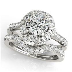 2.47 CTW Certified VS/SI Diamond 2Pc Wedding Set Solitaire Halo 14K White Gold - REF-442X8T - 31070