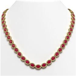 34.11 CTW Ruby & Diamond Halo Necklace 10K Yellow Gold - REF-562W9F - 40405