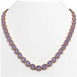 31.96 CTW Tanzanite & Diamond Halo Necklace 10K Rose Gold - REF-604T2M - 40410