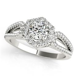 0.9 CTW Certified VS/SI Diamond Solitaire Halo Ring 18K White Gold - REF-137T3M - 26754