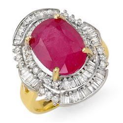 5.75 CTW Ruby & Diamond Ring 14K Yellow Gold - REF-118M8H - 12901