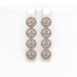 5.85 CTW Cushion Cut Diamond Designer Earrings 18K Rose Gold - REF-1090Y2K - 42864