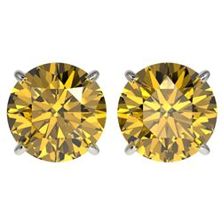 4 CTW Certified Intense Yellow SI Diamond Solitaire Stud Earrings 10K White Gold - REF-930F2N - 3313
