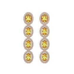 5.4 CTW Fancy Citrine & Diamond Halo Earrings 10K Rose Gold - REF-102K2W - 40545