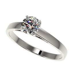 0.77 CTW Certified H-SI/I Quality Diamond Solitaire Engagement Ring 10K White Gold - REF-97N5Y - 364