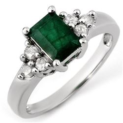 1.36 CTW Emerald & Diamond Ring 18K White Gold - REF-54T2M - 10855