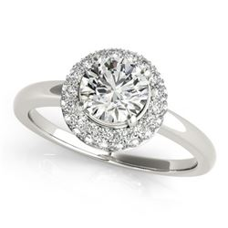 0.75 CTW Certified VS/SI Diamond Solitaire Halo Ring 18K White Gold - REF-143N6Y - 26473