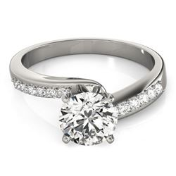 0.91 CTW Certified VS/SI Diamond Bypass Solitaire Ring 18K White Gold - REF-190M8H - 27675