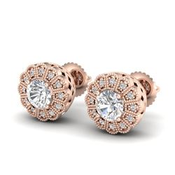 1.32 CTW VS/SI Diamond Solitaire Art Deco Stud Earrings 18K Rose Gold - REF-245F5N - 37053
