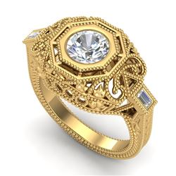 1.13 CTW VS/SI Diamond Solitaire Art Deco Ring 18K Yellow Gold - REF-360W2F - 37048