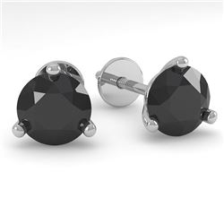 1.0 CTW Black Certified Diamond Stud Earrings Martini 14K White Gold - REF-25X8T - 38311