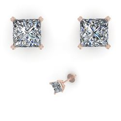 1.00 CTW Princess Cut VS/SI Diamond Stud Designer Earrings 14K White Gold - REF-148T5M - 38362