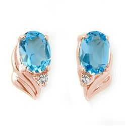 1.23 CTW Blue Topaz & Diamond Earrings 14K Rose Gold - REF-16T4M - 12580