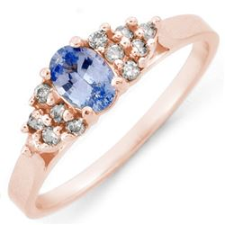 0.74 CTW Blue Sapphire & Diamond Ring 14K Rose Gold - REF-30A2X - 10580