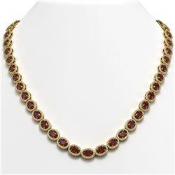 32.82 CTW Garnet & Diamond Halo Necklace 10K Yellow Gold - REF-501K3W - 40447