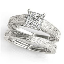 0.75 CTW Certified VS/SI Princess Diamond 2Pc Wedding Set 14K White Gold - REF-207T5M - 32081