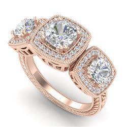 2.75 CTW Cushion Cut VS/SI Diamond Art Deco 3 Stone Ring 18K Rose Gold - REF-609F3N - 37041