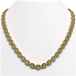 31.1 CTW Peridot & Diamond Halo Necklace 10K Rose Gold - REF-554W8F - 40428