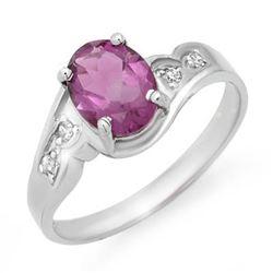 1.26 CTW Amethyst & Diamond Ring 10K White Gold - REF-16W2F - 12502