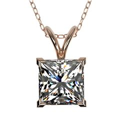 1.25 CTW Certified VS/SI Quality Princess Diamond Necklace 10K Rose Gold - REF-423T3M - 33215
