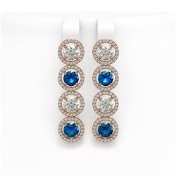 6.25 CTW Blue & White Diamond Designer Earrings 18K Rose Gold - REF-782X4T - 42684