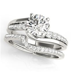 1.1 CTW Certified VS/SI Diamond Bypass Solitaire 2Pc Wedding Set 14K White Gold - REF-141K3W - 31847