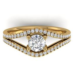 1.05 CTW Certified VS/SI Diamond Art Deco Ring 14K Yellow Gold - REF-126M8H - 30302