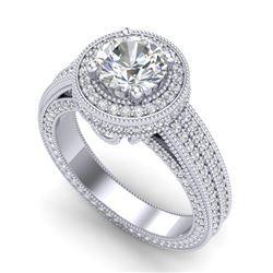 2.8 CTW VS/SI Diamond Solitaire Art Deco Ring 18K White Gold - REF-527Y3K - 37136