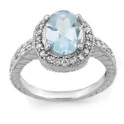 2.90 CTW Aquamarine & Diamond Ring 14K White Gold - REF-89T3M - 11419
