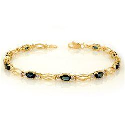 3.25 CTW Blue Sapphire Bracelet 10K Yellow Gold - REF-27Y5K - 10793