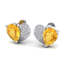 2.50 CTW Citrine & Micro Pave VS/SI Diamond Earrings 10K White Gold - REF-30H2A - 20070