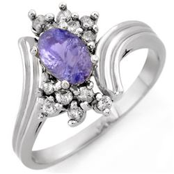 1.0 CTW Tanzanite & Diamond Ring 10K White Gold - REF-27K6W - 10147