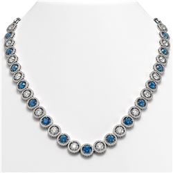 35.60 CTW Blue & White Diamond Designer Necklace 18K White Gold - REF-4403T6M - 42677